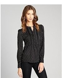 Pippa black polka dot button down blouse medium 52501