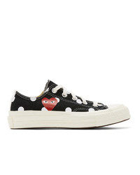 Comme Des Garcons Play Black Converse Edition Polka Dot Heart Chuck 70 Low Sneakers
