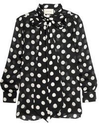 Pussy bow polka dot silk chiffon blouse black medium 1252278