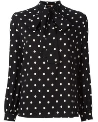 Saint laurent polka dot lavaliere blouse medium 1252283