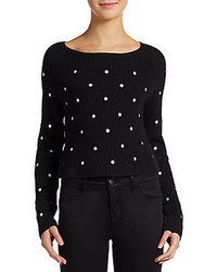 Dex polka dotted cropped knit sweater medium 84316