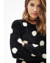 Forever 21 Fuzzy Knit Polka Dot Sweater