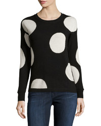 Philosophy Cashmere Cashmere Polka Dot Sweater Blackpure