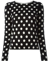 Twin-Set Lace Trim Polka Dot Sweater