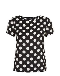 Black and White Polka Dot Crew-neck T-shirt