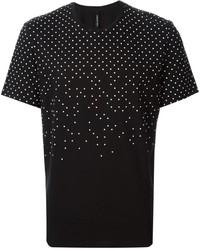 Black and White Polka Dot Crew-neck T-shirt