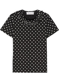 Comme Des Garons Girl Ruffle Trimmed Polka Dot Cotton Jersey T Shirt