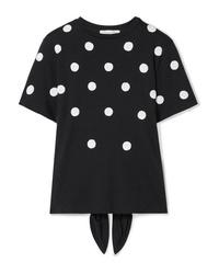 Oscar de la Renta Sequined Modal And Cotton Blend T Shirt