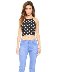 Black and White Polka Dot Cropped Top