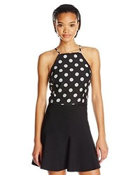 Joa polka dot halter crop top medium 204851