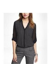 Express Chiffon Sleeve Polka Dot Portofino Shirt Black Small