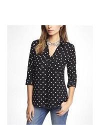 Express Polka Dot Convertible Sleeve Portofino Shirt Black X Small