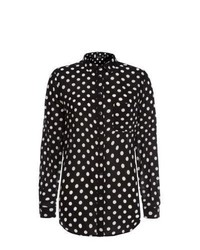 New Look Cream Polka Dot Long Sleeve Shirt