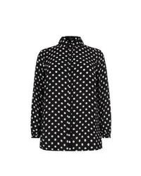 New Look Inspire Black Polka Dot Long Sleeve Shirt