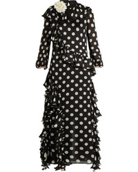 Black and White Polka Dot Evening Dress