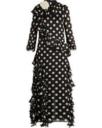 Gucci Ruffled Polka Dot Georgette Gown