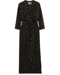Monique Lhuillier Wrap Effect Velvet Jacquard Gown