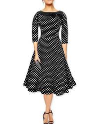 Boat Neck Polka Dot Bow Flare Black Dress