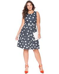 $119, ELOQUII Plus Size Dot Print Scuba Dress