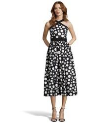 Jill Stuart Jill Black And Ivory Polka Dot Patterned Chiffon Tea Length Dress
