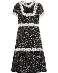 Lace trimmed polka dot silk georgette dress black medium 422913