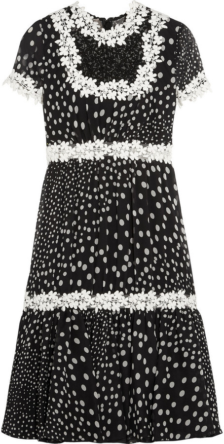a134fa633db ... Giambattista Valli Lace Trimmed Polka Dot Silk Georgette Dress Black ...