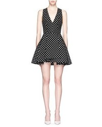 Alice + Olivia Tanner Polka Dot Jacquard Dress
