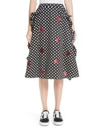 Paskal Dot Print Ruffled A Line Skirt
