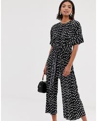 ASOS DESIGN Plisse Tie Front Jumpsuit In Spot Print
