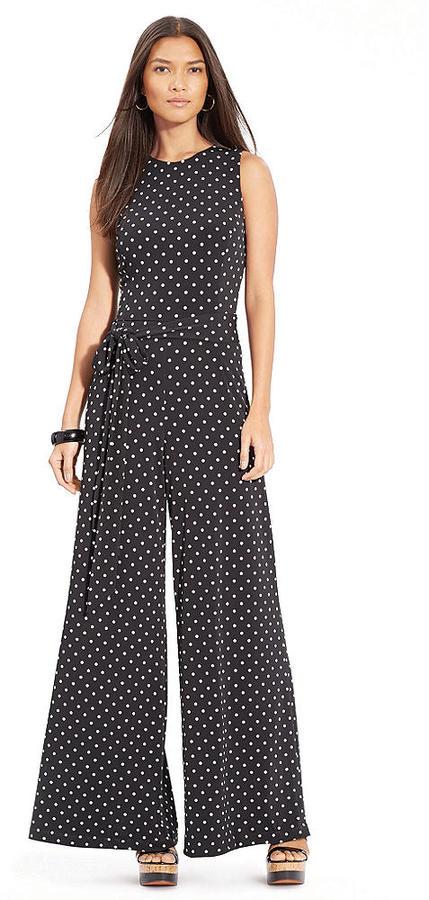 4128fbec8b4e Lauren Ralph Lauren Sleeveless Polka Dot Jumpsuit