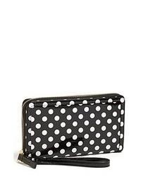 Black and White Polka Dot Leather Clutch