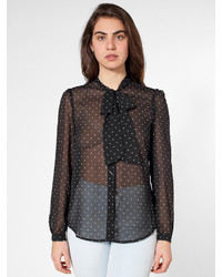 American apparel polka dot chiffon secretary blouse medium 330309