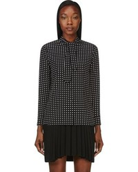 Black crepe de chine polka dot tie blouse medium 92198