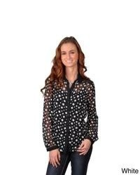 Journee Collection Juniors Polka Dot Long Sleeve Button Up Chiffon Blouse