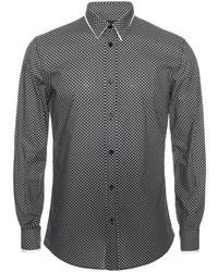 Alexander McQueen Skull Polka Dots Double Collar Long Sleeve Shirt