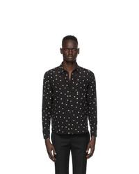Saint Laurent Black And Off White Silk Graphic Shirt