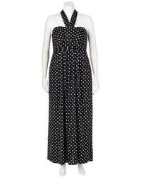 Wrapper polka dot halter maxi dress juniors plus medium 314631
