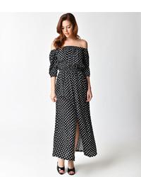 Unique Vintage 1970s Black White Dot Off Shoulder Sleeved Midi Peasant Dress