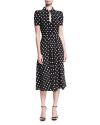Ralph Lauren Collection Mariella Polka Dot Short Sleeve Midi Dress