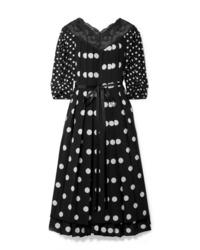 Marc Jacobs Med Pleated Polka Dot Silk De Chine Midi Dress