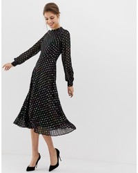 Warehouse Midi Dress With Pleated Skirt In Foil Spot Print