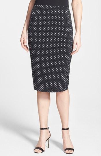 black and white polka dot midi skirt vince camuto polka