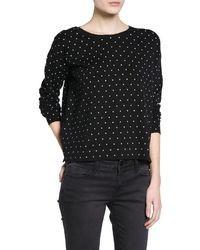 Black and White Polka Dot Oversized Sweater