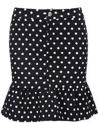 Peplum Hem Polka Dot Skirt