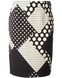 Ungaro Emanuel Contrast Polka Dot Print Skirt
