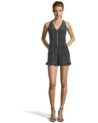 Nanette Lepore Black And White Silk Polka Dot Flirty Romper