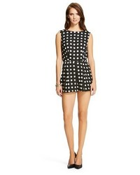 Nitrogen Printed Silk Polka Dot Romper Black White