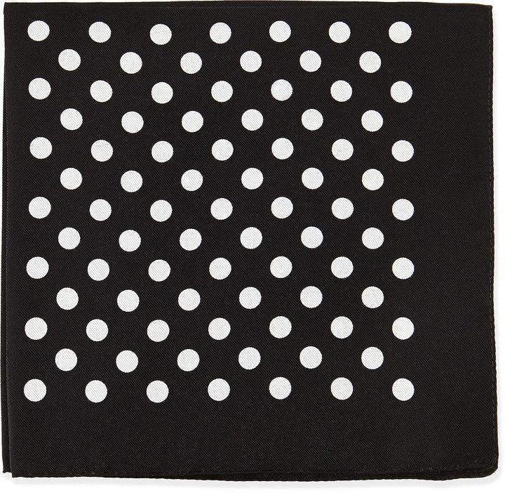 8a73b6734214 Hugo Boss Boss Polka Dot Silk Pocket Square Black, $50 | Neiman ...