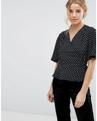 Black and White Polka Dot Short Sleeve Blouse