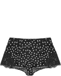 Dolce & Gabbana High Rise Lace Trimmed Stretch Silk Georgette Shorts